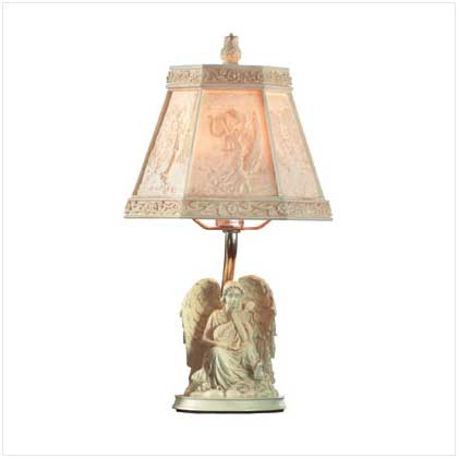 Alab. Angel With Cherub Lamp